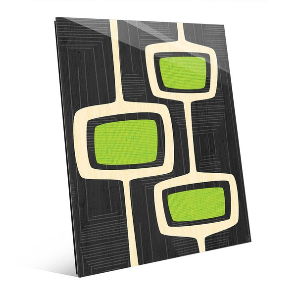 Retro Green Bubble Towers Glass Wall Art