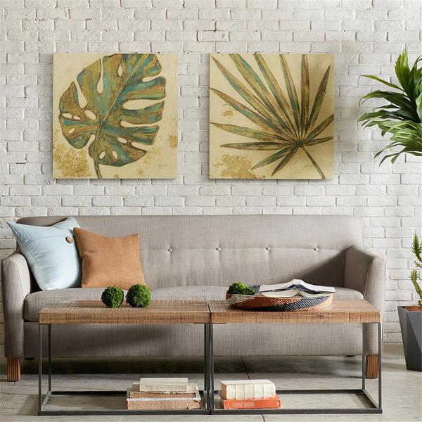 INK+IVY Palm Grove Green Printed Linen Canvas 2-Piecee Set