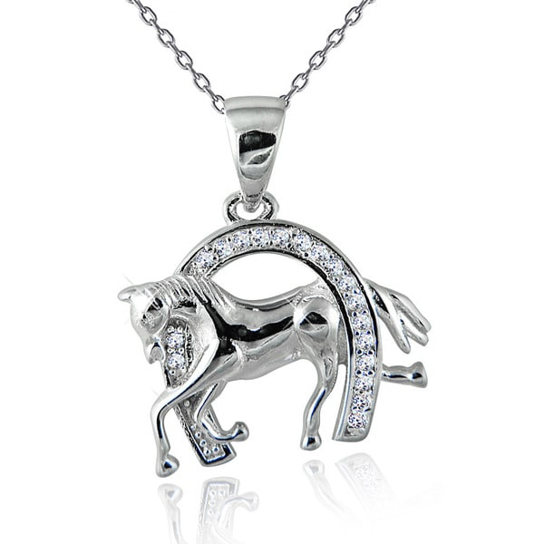 Rhodium-plated Sterling Silver and White Topaz Racehorse in Horseshoe Pendant 18-inch Necklace