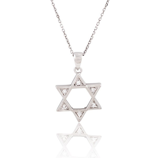 Sterling Silver Cubic Zirconia 'Star of David' (Magen David) Pendant on 18-inch Necklace
