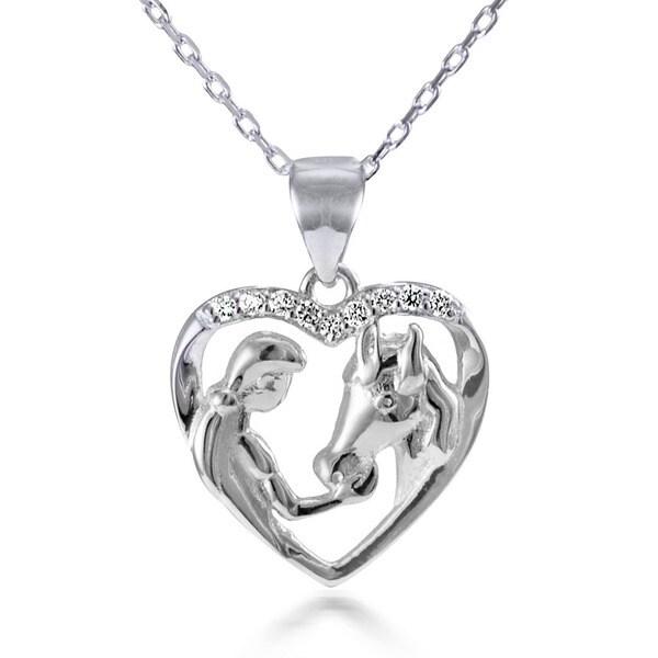 Sterling Silver White Topaz 18-inch Girl Feeding Her Horse Open Heart Pendant Necklace 21213521