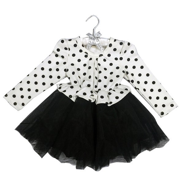 Haley Boutique Girls Black/White Cotton/Spandex Polka-dot Lace Tulle Tutu Dress
