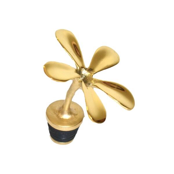 Gold Brass Champa Flower Bottle Stopper