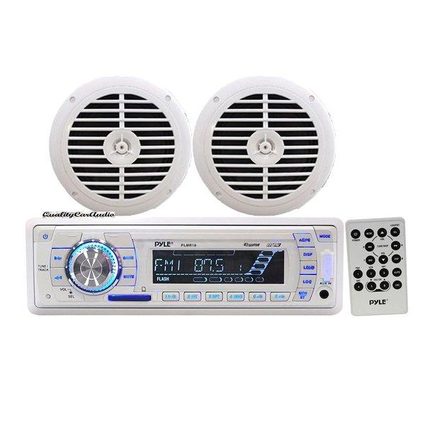PyleTuning Marine Radio with Dual Cone Waterproof Stereo Speaker System