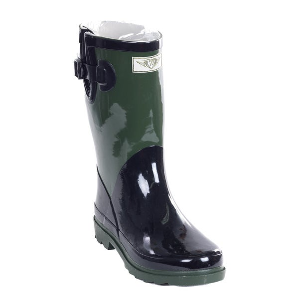 Women's Army Green Rubber 11-inch Mid-calf 11 Rain Boots