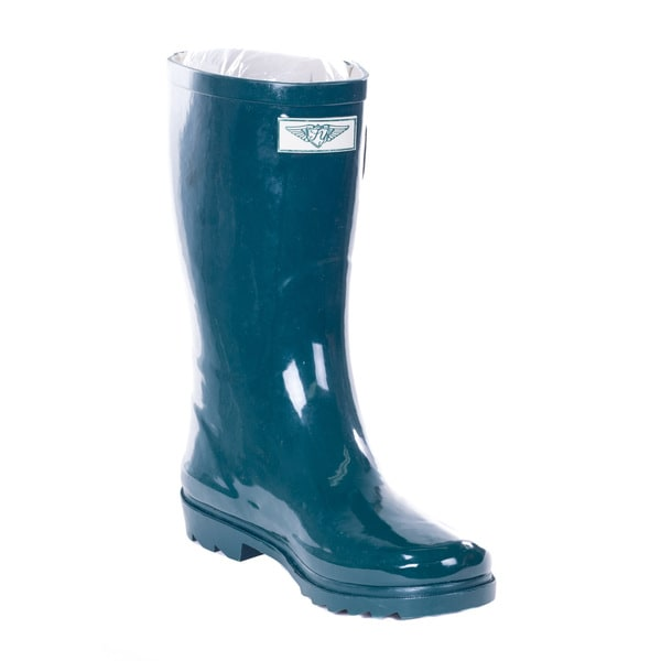 Forever Young Women's Forest Green Rubber 11-inch Mid-calf Rain Boots