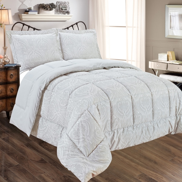 Grey Paisely Print Reversible 3-piece Comforter Set