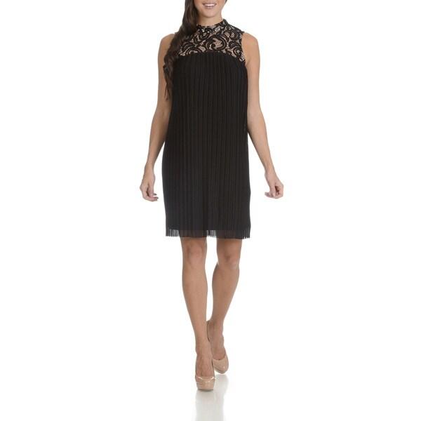 London Times Women's Black Lace Pleated Trapeze Dress