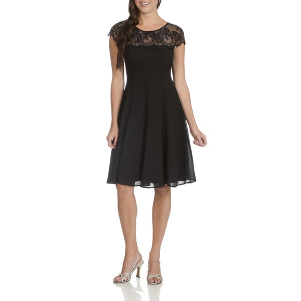 London Times Women's Black Lace Knee-length Yoke Dress