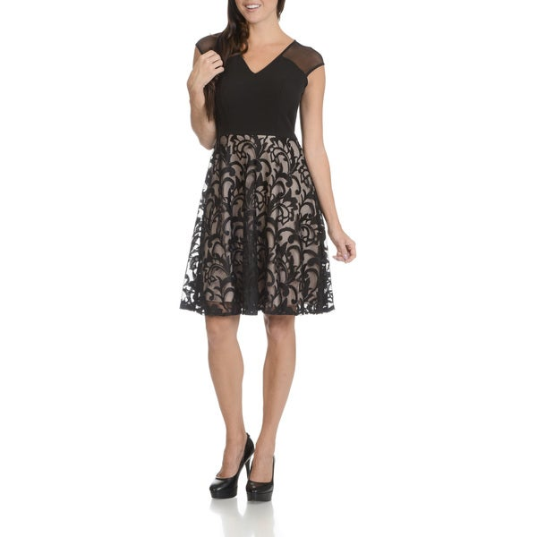 London Times Women's Black Beige Lace Skirt Bottom Fit and Flare Dress