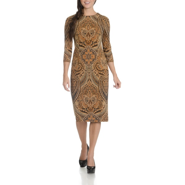 London Times Women's Feather Scroll Print Dress