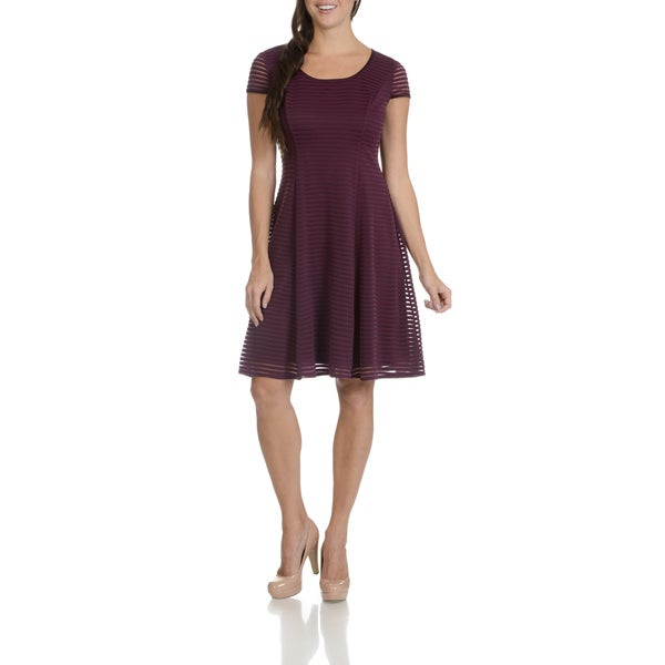 London Times Women's Fit and Flare Wine Red Polyester/Spandex Stripe Mesh Dress