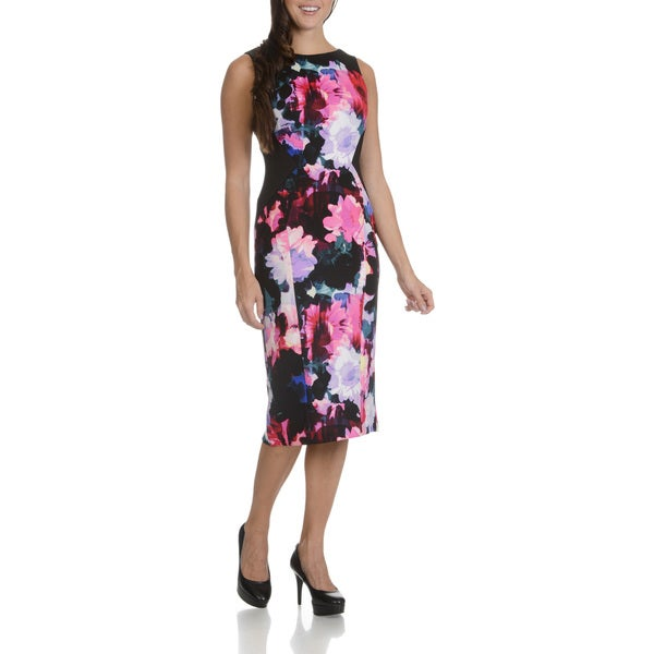 London Times Women's Black/Pink Polyester/Spandex Floral-printed Sleeveless Dress