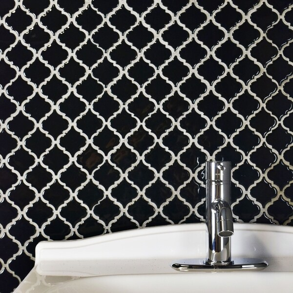 SomerTile 12.375x12.5-inch Antaeus Glossy Black Porcelain Mosaic Floor and Wall Tile (10/Case, 10.96 21216466