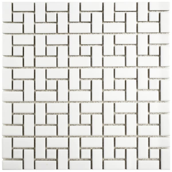 SomerTile 12.5x12.5-inch Spiral Matte White and Glossy White Porcelain Mosaic Floor and Wall Tile (10 tiles/11.07 sqft.) 21216591