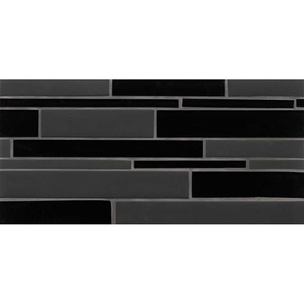 Bedrosians Hampton Collecdtion Black Matte/Grey Gloss Footprint Random Interlock Tile (Case of 10 Sheets)