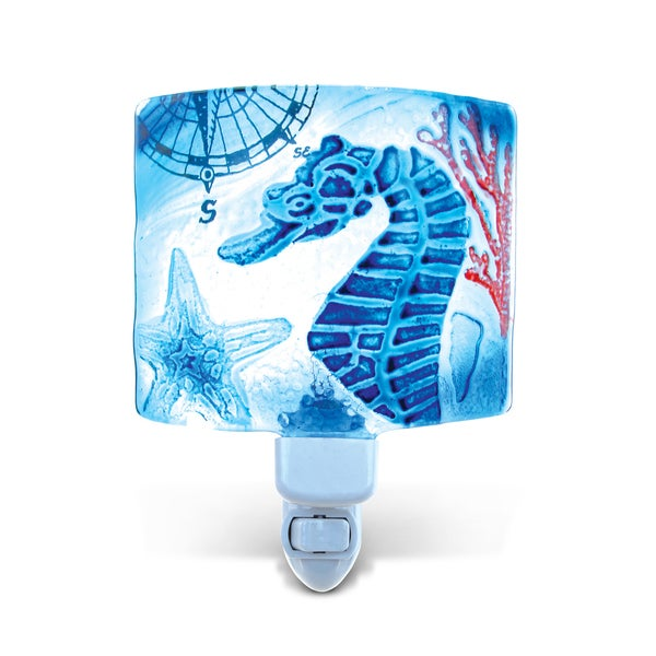 Puzzled Ocean Life Theme Glass Sea Horse Night Light 21216931