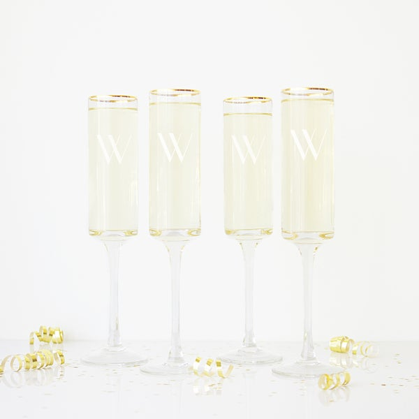 Gold/Clear Glass Personalized 8-ounce Contemporary Champagne Flutes (Set of 4)