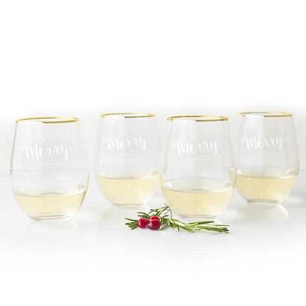 Be Merry 19.25 oz. Gold Rim Stemless Wine Glasses (Set of 4)