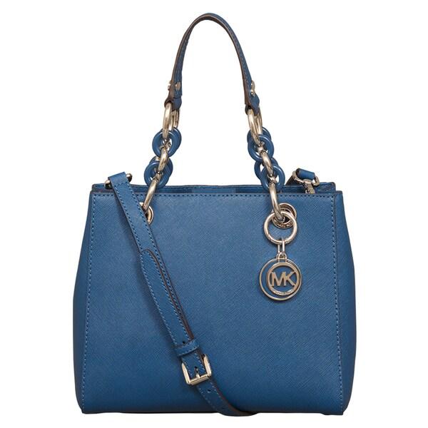 Michael Kors Small Cynthia Steel Blue North/South Satchel Handbag