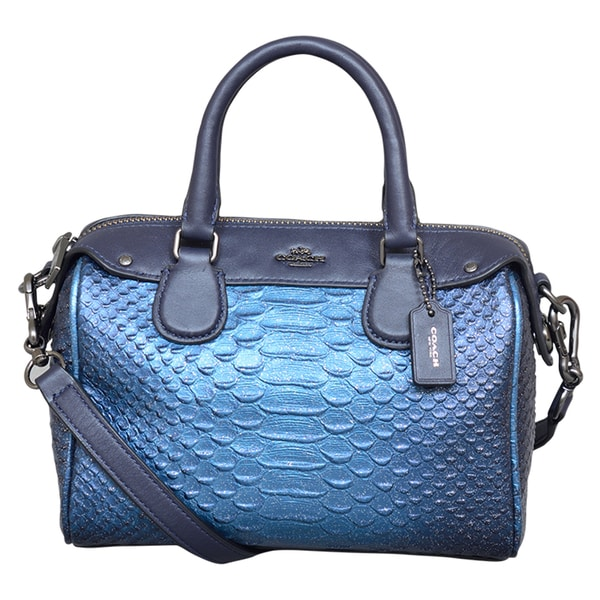 Coach Mini Bennet Metallic Blue Satchel Handbag