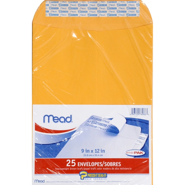 "MeadWestvaco 76086 9"" X 12"" Heavyweight Kraft Press-It-Seal-It Envelopes 25 Ct"