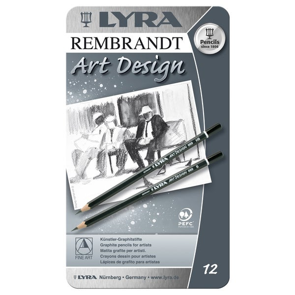 Lyra 1111120 Rembrandt Drawing Pencils Assorted Degrees 12 Count