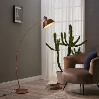 "Versanora - Arco Arc Floor Lamp, Gold Rose, 61""H"