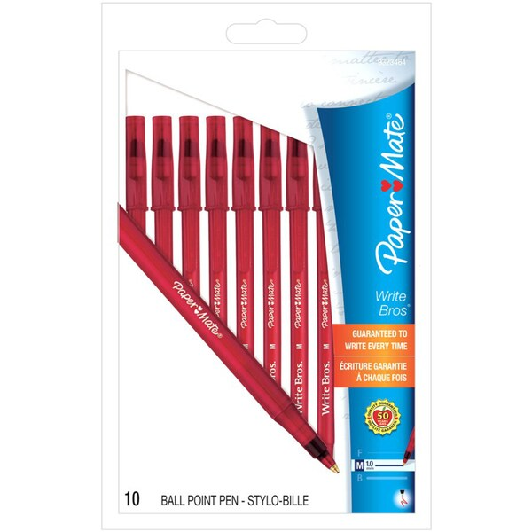 Paper Mate 9323464 Red Medium Tip Write Brothers Stick Ballpoint Pens 10 Count