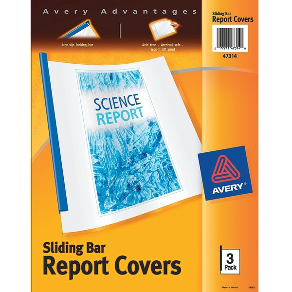 Avery 47314 Clear Sliding Bar Report Cover 3 Count