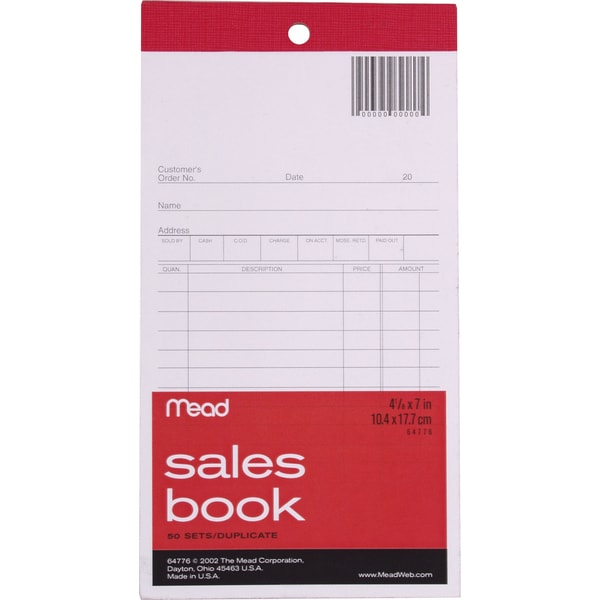 "MeadWestvaco 64776 4"" X 7-11/16"" Sales Book With Duplicates 50 Count"