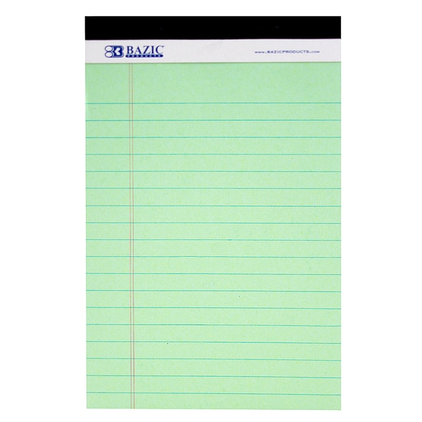 """Bazic Products 536-24 5"""" X 8"""" Junior Legal Pad Assorted Colors 3 Count"""