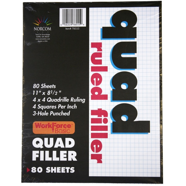 "Norcom 78555-12 11"" X 8.5"" Quad Ruled Filler Paper 80 Count"