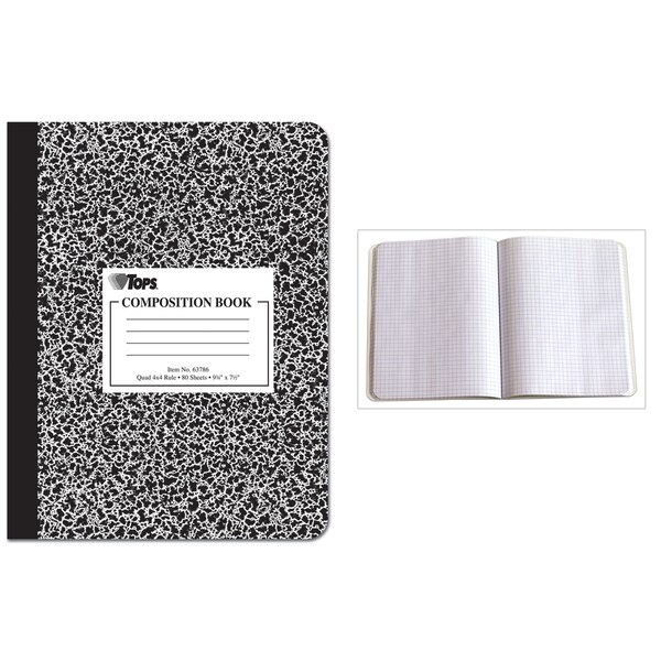 "Tops 63786 9-3/4"" X 7-1/2"" Quad Ruled Composition Notebook"