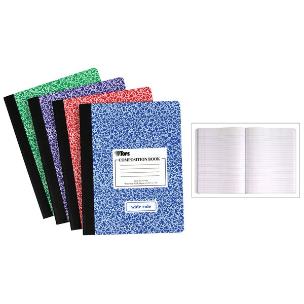 "Tops 63794 9-3/4"" x 7-1/2"" Wide Ruled Composition Notebook Assorted"