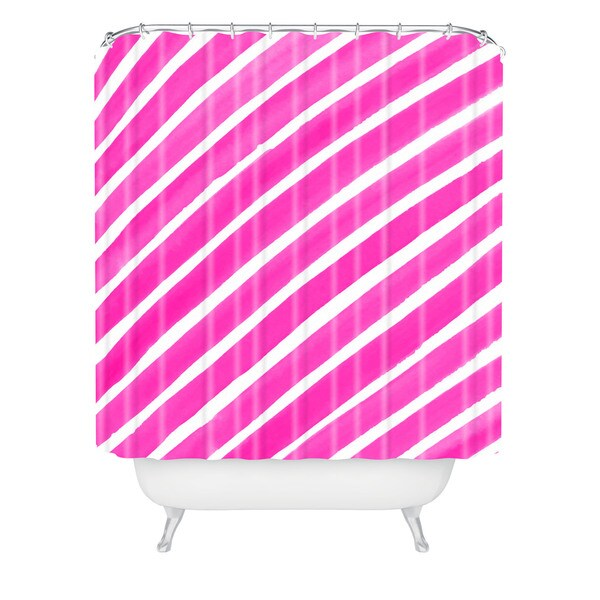 Rebecca Allen Pretty In Stripes Pink Shower Curtain