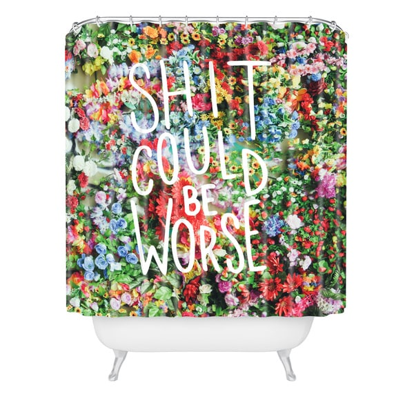 Craft Boner Shit Could Be Worse Floral Typography Shower Curtain