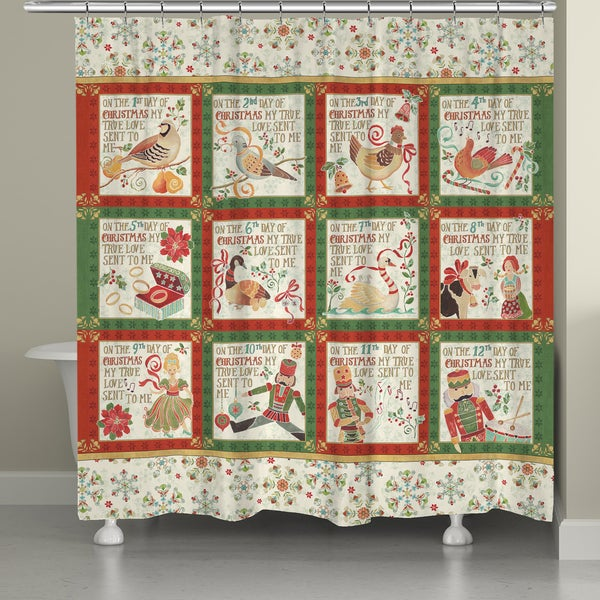 Laural Home 12 Days of Christmas Shower Curtain 21218749