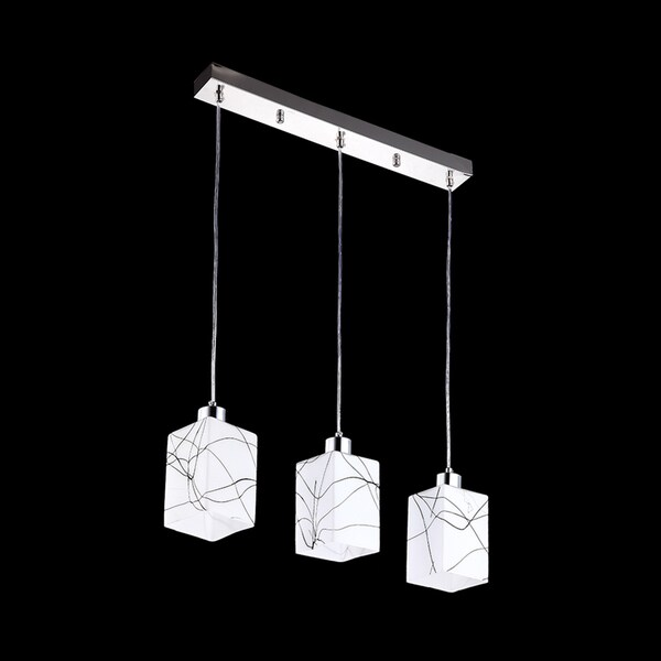 3-light Pendant Light Fixture with Cuboid Glass Shade