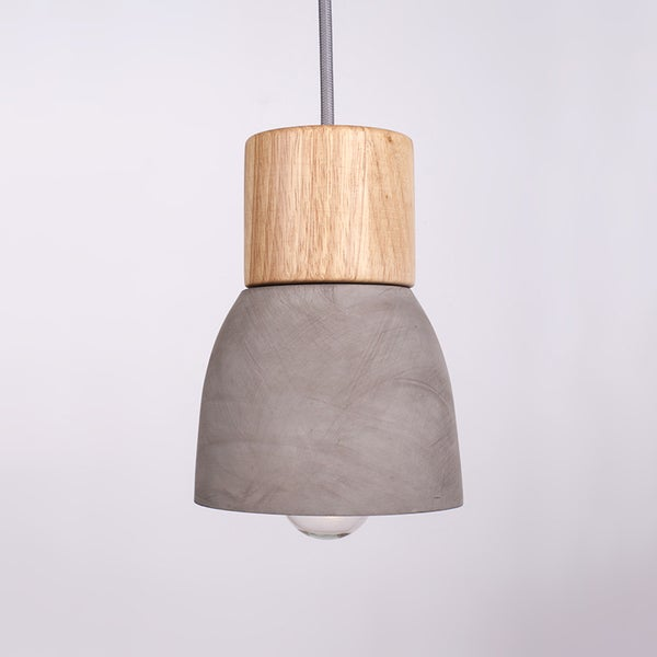 Cement Shade Iron Pendant Light with Wooden Holder