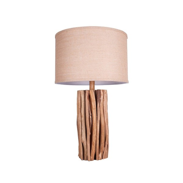 Brown Wooden Branch Linen Shade Table Lamp