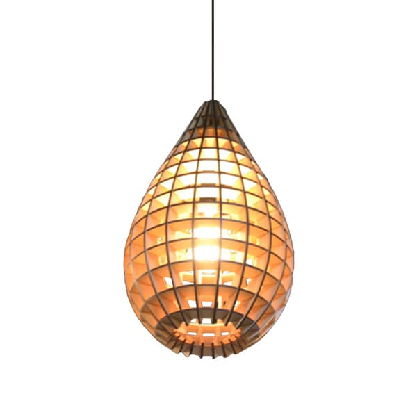 Plywood Water 1-light Pendant with Drop Shade