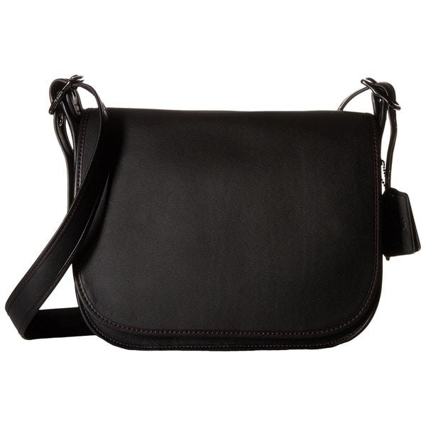 Coach Black Glovetanned Leather Crossbody Saddle Handbag