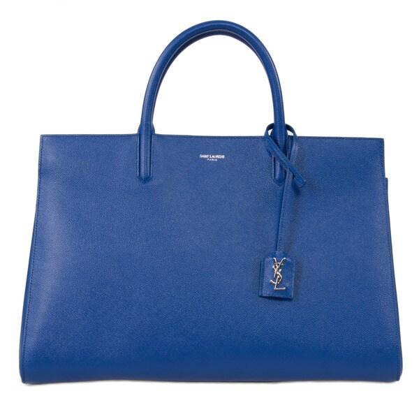 Yves Saint Laurent Cabas Rive Medium Blue w/Silver Hardware Gauche Satchel Handbag