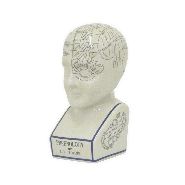 Beige Ceramic Three Hans Phrenology Head