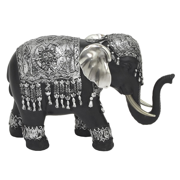 Three Hands Black/Silver Resin Ornate Elephant Decoration 21236824