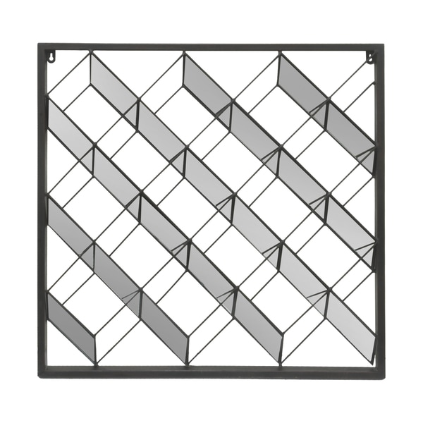 Three Hands 32432 Black Metal Geometric Mirrored-detail Wall Sculpture