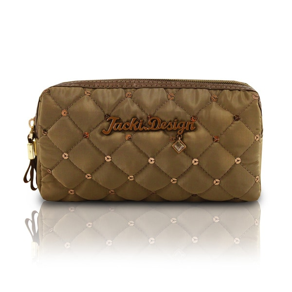 Jacki Design Bella Donna Polyester Quilted Double Zipper Cosmetic Toiletry Bag