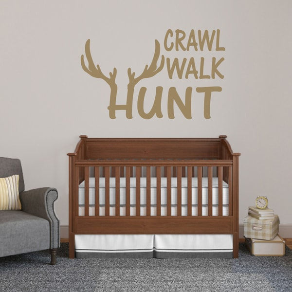 "Crawl Walk Hunt Wall Decal - 48"" wide x 30"" tall"