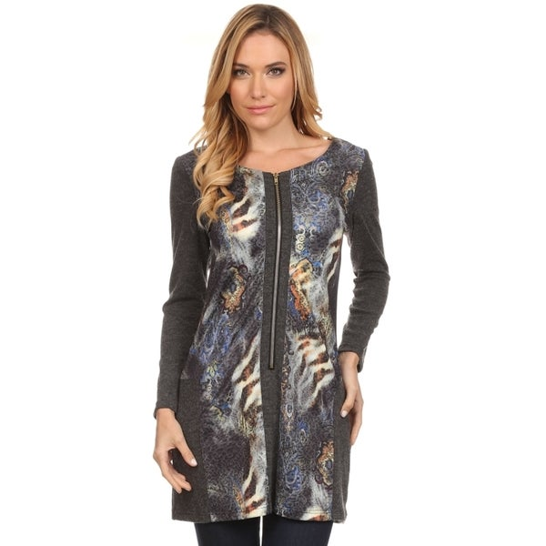 High Secret Women's Grey Abstract-print Zip-up Tunic Dress